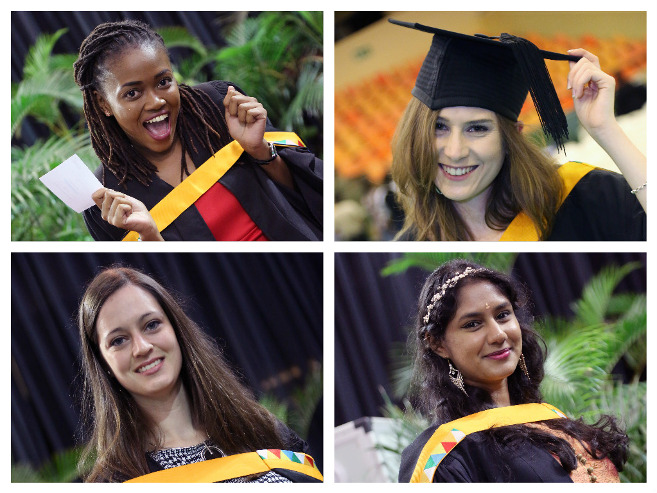 LLM graduates who earned their degrees cum laude, clockwise: Ms Karabo Hiine, Ms Aidean Ross, Ms Siddharthiya Pillay and Ms Claire Gillespie.