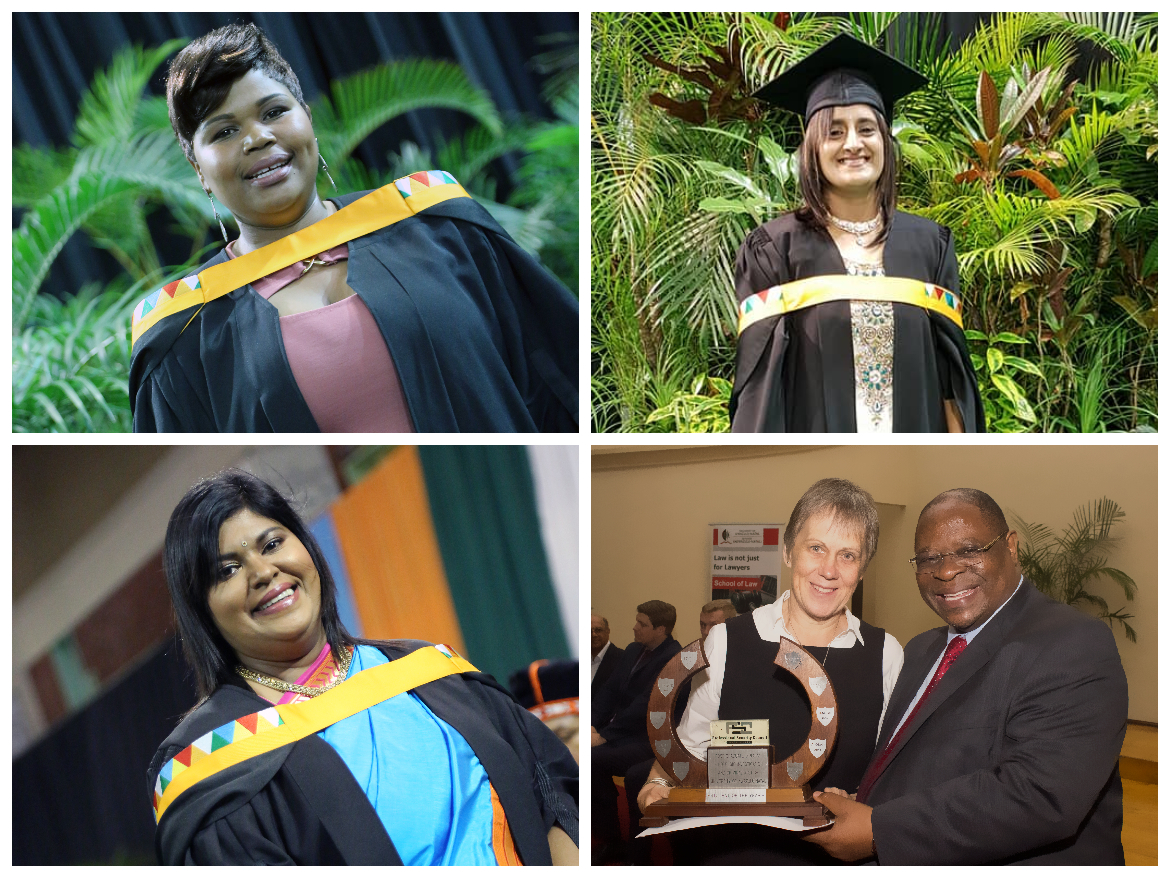 Four UKZN Professional Services' staff members excel in their studies. Clockwise, Ms Sithembile Sibisi, Ms Heena Jivan, Dr Kathy Cleland with Deputy Chief Justice Ray Zondo, and Advocate Pushpa Naidu.