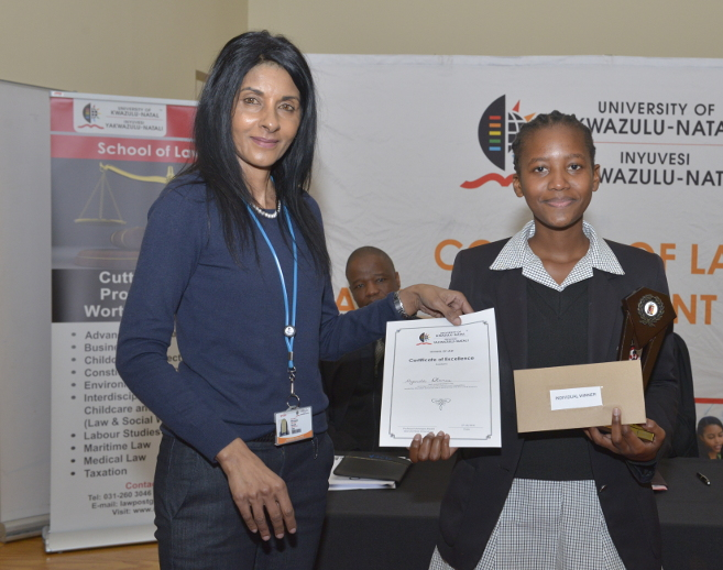 High Schools Mini-Moot Court Competition Overall Winner, Ms Ayanda Dlamini, with Professor Managay Reddi.