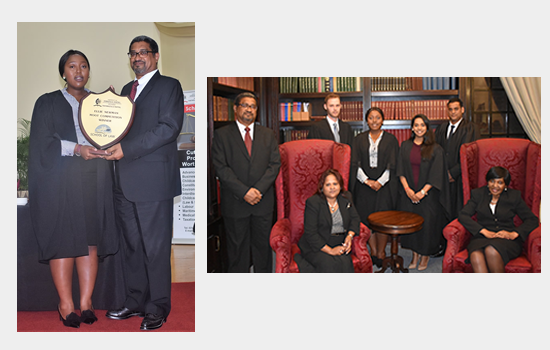 Ms Sanelisiwe Shangase (bottom picture), winner of the 47th Ellie Newman Memorial Moot Court Competition. Also pictured are finalists and judges of the KZN High Court Division.